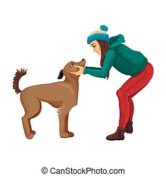 Winter walk with the pet a dog. Vector illustration of an animal and woman s person