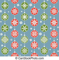 Winter wallpaper with hanging red and green snowflakes