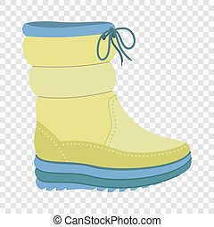 Winter warm boot icon, flat style