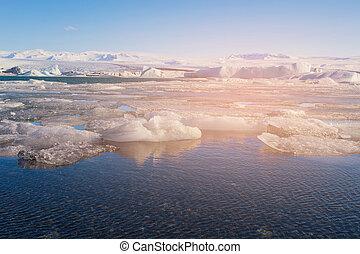Winter water lake Jokulsarlon glacier,