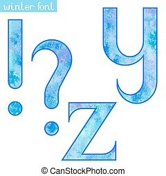 Winter watercolor font Y,Z and marks