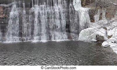 Winter Waterfall Background