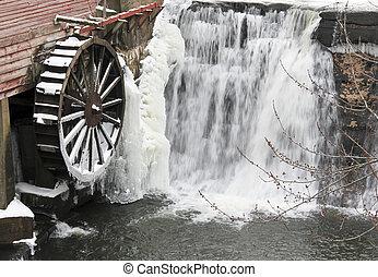 Winter Waterwheel and Waterfall - Waterwheel and waterfall...