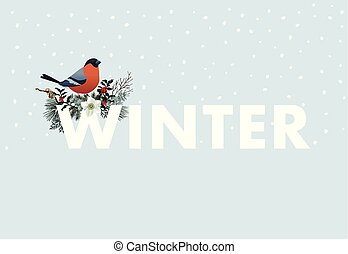 Winter web banner. Bullfinch bird sitting on W letter. Floral garland of pine tree branches, cranberries and narcissus flowers. Vintage design. Vector illustration background with falling snow.