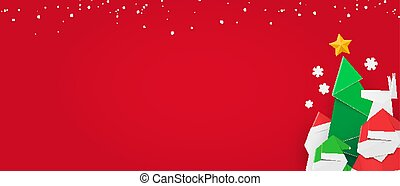 Winter web banner with festive design, red background and copy space.