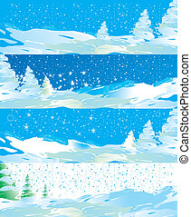 Winter web banners vector