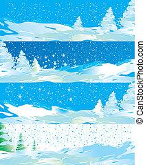Winter web banners vector