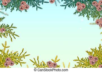 winter, weihnachten, hintergrund., schneebedeckt, tannenzweige, und, cones.