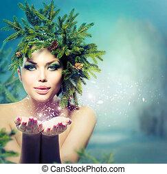 winter, weihnachten, woman., feiertag, m�dchen, blasen, schnee