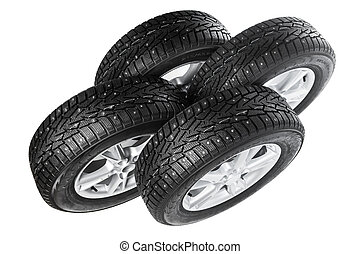 winter wheels set isolated on white
