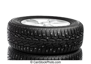 winter wheels stack isolated on white