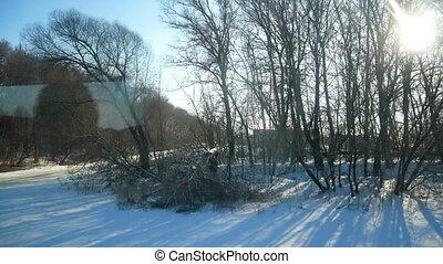Winter window bus moving - Winter background window road...