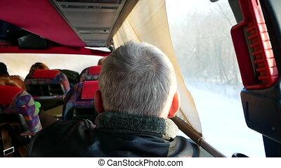 Winter window bus moving