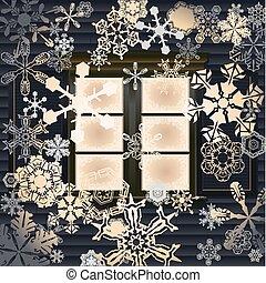 Winter window - Snow back lit by window vector