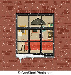 Winter window in brick wall. View of the living room through...