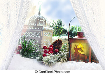 window with christmas decoration
