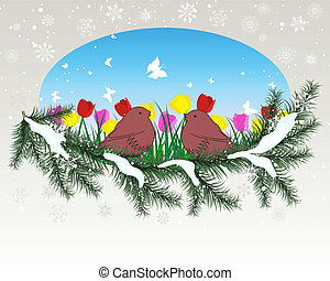 winter window with summer - Winter background with oval...