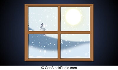 Winter windows - Window with view on wintry forest
