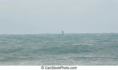 Winter windsurfing in a storm