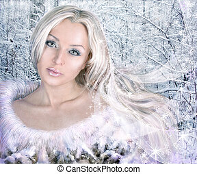 winter woman collage