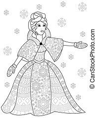 Winter woman coloring vector for adults