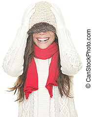 Winter woman fun isolated