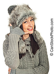 Winter woman gesturing call me - Winter woman in gray...