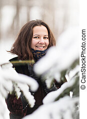 Winter woman have fun outdoors
