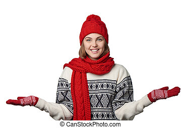 Winter woman holding two opened palms