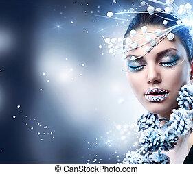 winter, woman., kerstmis, meisje, makeup