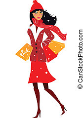 Winter woman on shopping - Vector illustration of winter ...