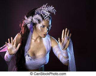 winter woman - pretty brunette woman wearing white and...