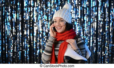 Winter woman with big alarm clock - Portrait of smiling...