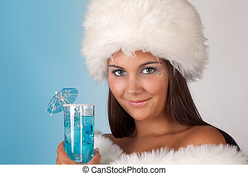 Winter woman with cocktail