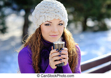 Winter woman with hot coffee