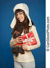 Winter woman with red gift box