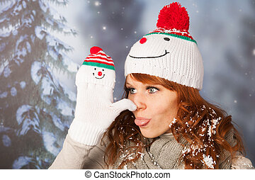 Winter woman with snowman hat