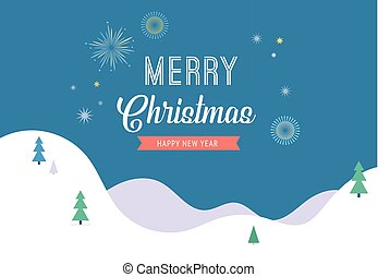 Winter wonderland, Merry Christmas banner, background and minimalistic greeting card