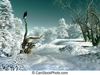 winter wonderland, scène, 3d, cg