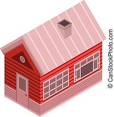 Winter wood house icon, isometric style
