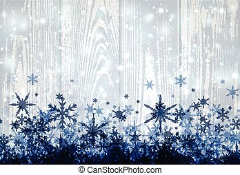 Winter wooden background with snowflakes.