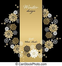 Winter wreath frame design. Golden snowflakes background. Text place.