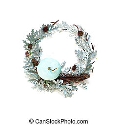 Winter wreath imitation. Leaves and pumpkin composition . Isolated