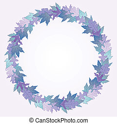 Wreath made of winter colored maple and oak leaves
