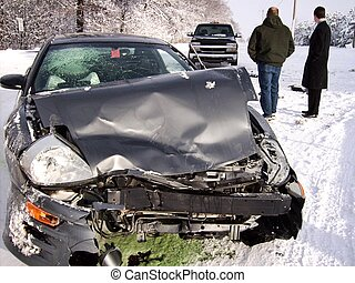 Winter Wreck - Car accident on an icy road.