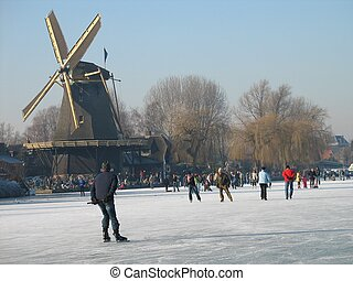 winter7996 - Holland, a crowd of skaters on a sunny...