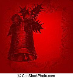 winterberry., campana, ilustración, mano, vector, dibujado, ...