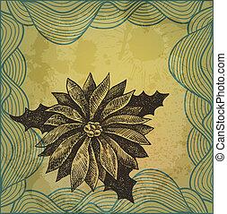 winterberry, ilustración, mano, vector, artístico, dibujado...
