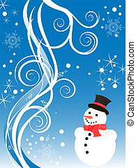 winter/christmas scene - illustration of a snowman on a ...