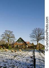 Winterlandscape with farmhouse